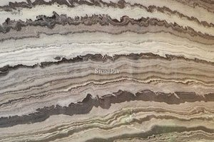 A black and grey granite with a wave pattern.