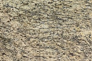 A gold granite with flowing grains of white brown and black.
