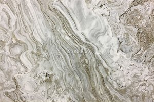 High movement marble with dense wispy veins of gold, grey and brown.