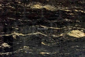 A black granite with grey and gold veins.