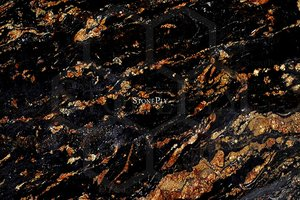 A black and gold granite with a series of veins.