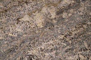 A beige granite with dark grey veins and black marks.