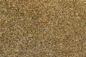 A gold and grey granite with low variation.