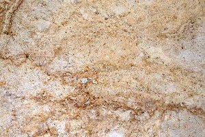 A golden yellow granite with grey and brown veins and specks.