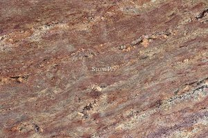 A brown granite with red and grey veining pattern.