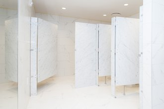StonePly Panels used as bathroom partitions