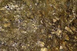 A brown and gold granite with dark veins.