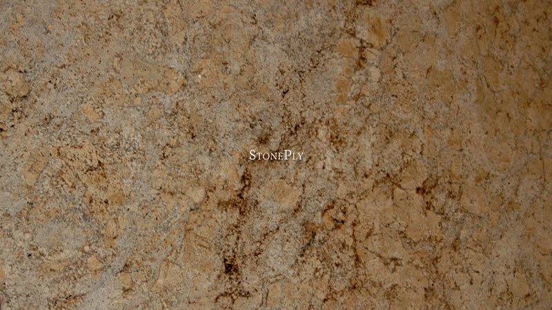 A gold and grey granite with small dark veins.