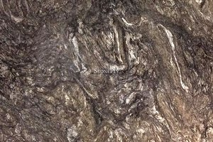 A brown granite with white and silver accents.