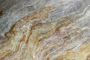 A gold and grey granite with veins.