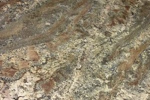 A granite with a mix of grey, brown and beige colors.