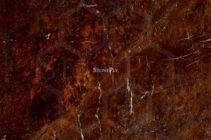 A brown granite with grey veins.