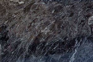 A grey-black granite with lighter veins.