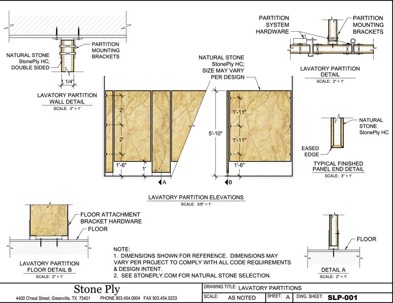 Floor Mounted Lavatory Partition Mounting Details  SLP 001. CAD   StonePly