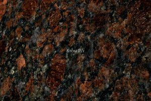 A dark brown granite with a variety of brown irregular shapes.