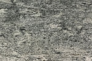 A grey granite with silver veining.