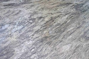 A white granite with blue and grey veins.