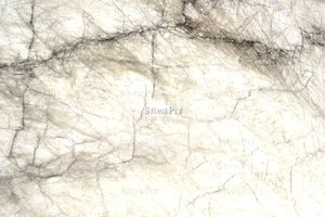 A white granite with darker veins.