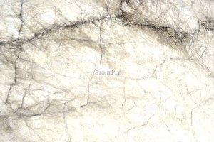 A white granite with darker veins.