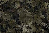 A coarse grained granite with dark green and black pebbles.