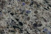A blue granite speckled with varying dark and light grey colors.