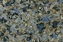 A brown and purple granite with bits of blue quartz.