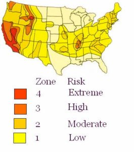 United States Map of Earthquake Risk