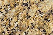 A black and yellow, coarse grained granite.