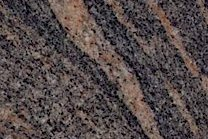 A grey, blue, black and pink granite with a veined texture.