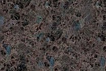 A brown and blue granite with low variation.