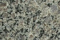 A coarse grained, grey and brown granite.