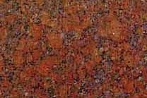 A red granite that includes blue accents.
