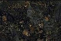 A dark green granite with golden flecks.