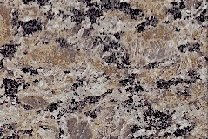 A coarse grained, brown granite with a little bit of grey and black.
