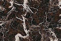 A brown and redish marble that features white veins.