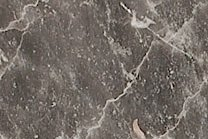 A fine grained, brown and grey marble with pink veins.
