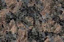 A coarse grained, brown granite with grey quartz.